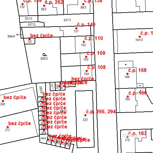 Katastrální mapa Stavební objekt Bohušovice nad Ohří 108, Bohušovice nad Ohří