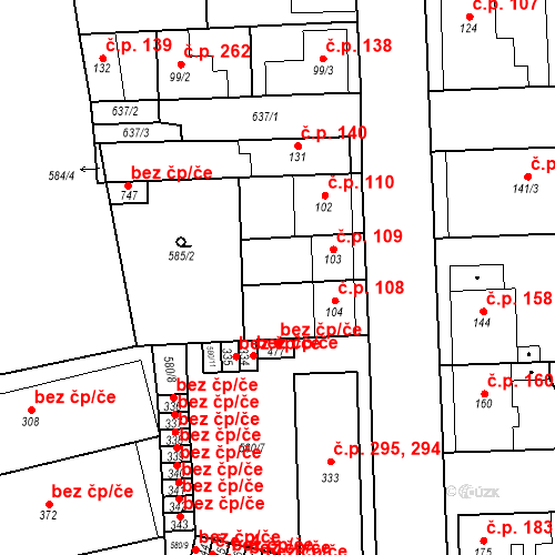 Katastrální mapa Stavební objekt Bohušovice nad Ohří 109, Bohušovice nad Ohří