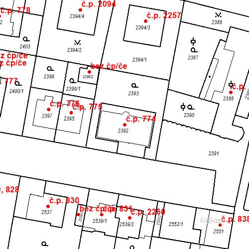 Katastrální mapa Stavební objekt České Budějovice 3 774, České Budějovice