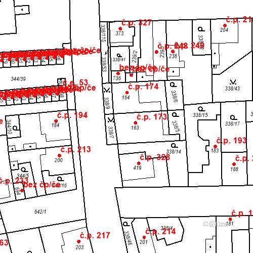 Katastrální mapa Stavební objekt Bohušovice nad Ohří 173, Bohušovice nad Ohří