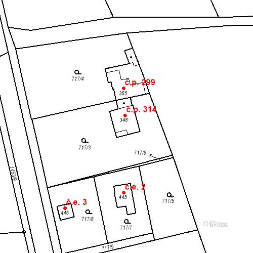 Katastrální mapa Stavební objekt Bernartice 314, Bernartice