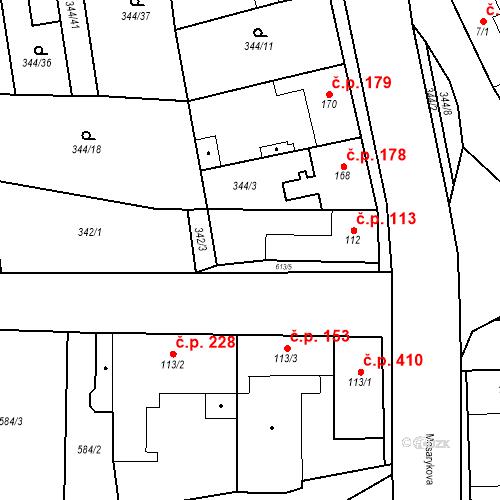 Katastrální mapa Stavební objekt Bohušovice nad Ohří 113, Bohušovice nad Ohří