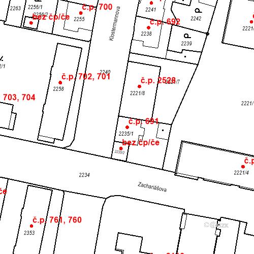 Katastrální mapa Stavební objekt České Budějovice 3 691, České Budějovice