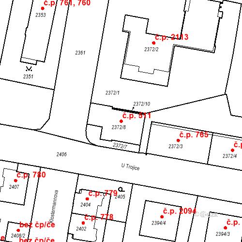 Katastrální mapa Stavební objekt České Budějovice 3 511, České Budějovice
