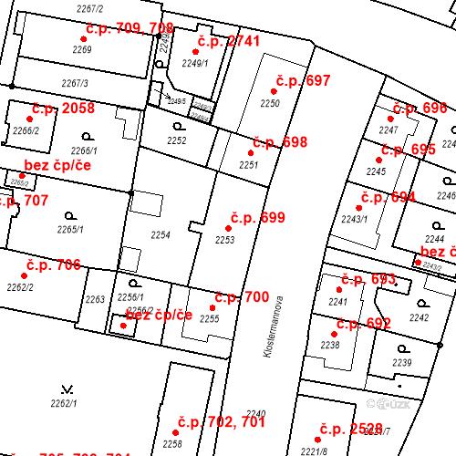 Katastrální mapa Stavební objekt České Budějovice 3 699, České Budějovice