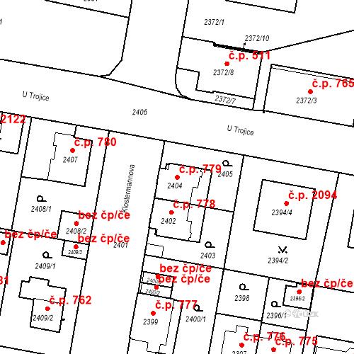 Katastrální mapa Stavební objekt České Budějovice 3 779, České Budějovice