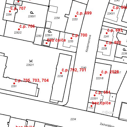 Katastrální mapa Stavební objekt České Budějovice 3 701, 702, České Budějovice