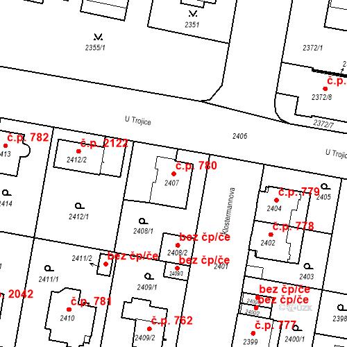 Katastrální mapa Stavební objekt České Budějovice 3 780, České Budějovice