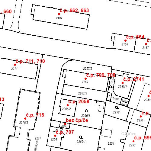 Katastrální mapa Stavební objekt České Budějovice 3 708, 709, České Budějovice