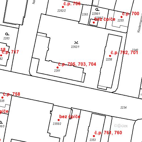 Katastrální mapa Stavební objekt České Budějovice 3 703, 704, 705, České Budějovice