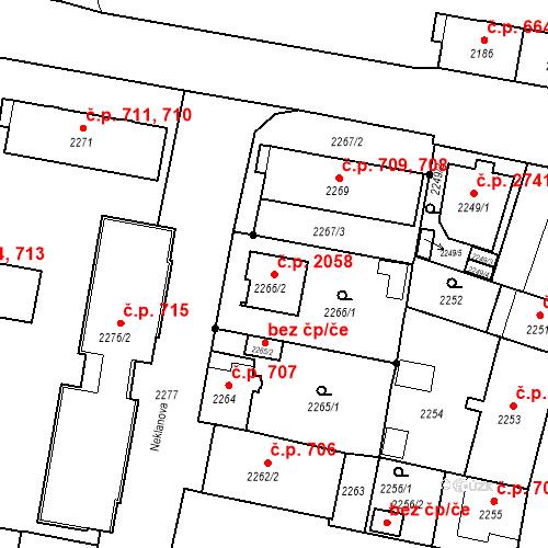 Katastrální mapa Stavební objekt České Budějovice 3 2058, České Budějovice