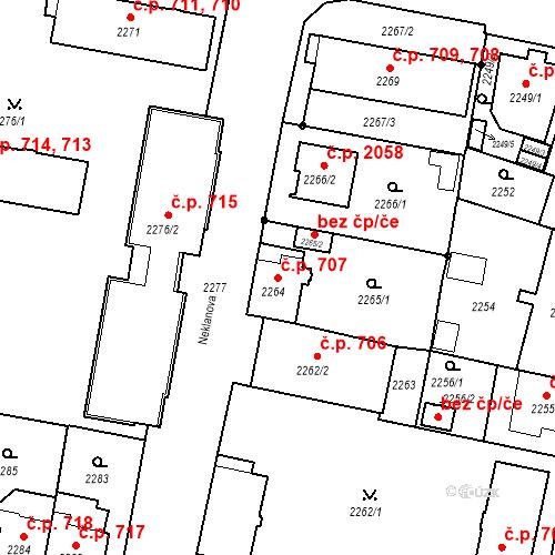 Katastrální mapa Stavební objekt České Budějovice 3 707, České Budějovice