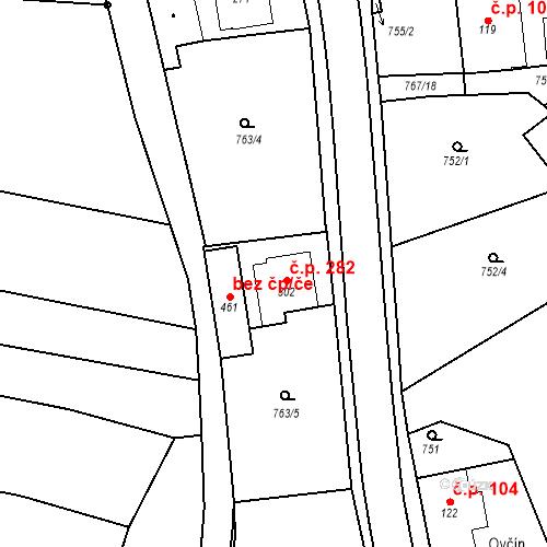 Katastrální mapa Stavební objekt Bernartice 282, Bernartice