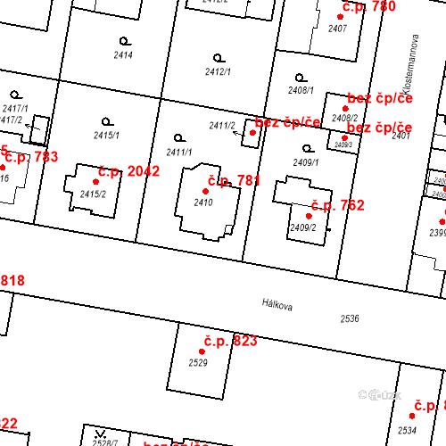 Katastrální mapa Stavební objekt České Budějovice 3 781, České Budějovice
