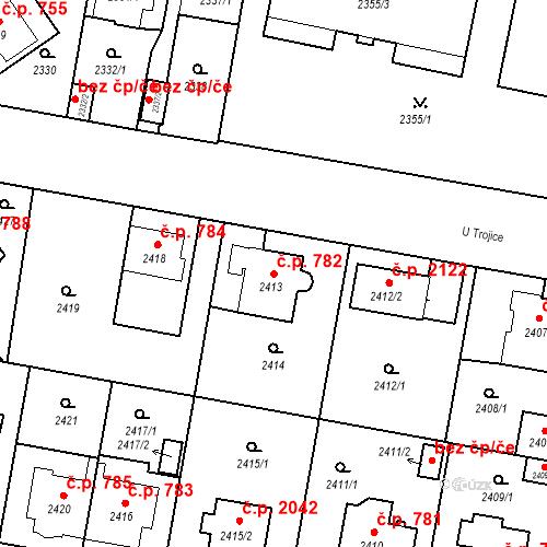Katastrální mapa Stavební objekt České Budějovice 3 782, České Budějovice