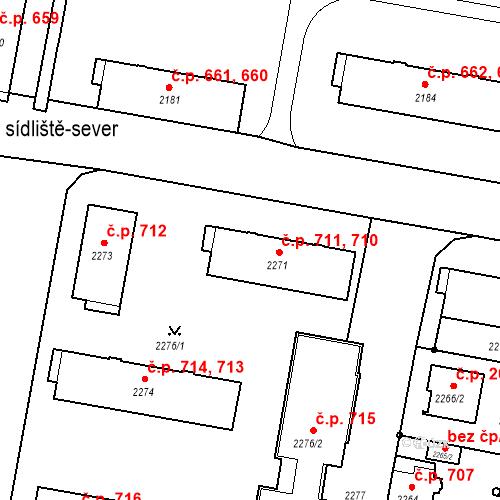 Katastrální mapa Stavební objekt České Budějovice 3 710, 711, České Budějovice