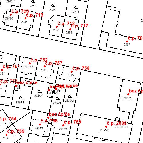 Katastrální mapa Stavební objekt České Budějovice 3 758, České Budějovice