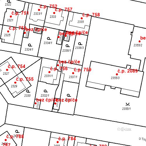 Katastrální mapa Stavební objekt České Budějovice 3 759, České Budějovice