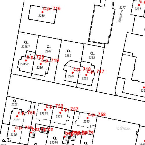 Katastrální mapa Stavební objekt České Budějovice 3 718, České Budějovice