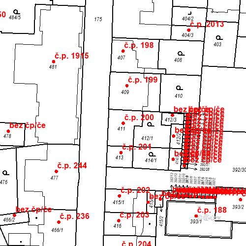 Katastrální mapa Stavební objekt České Budějovice 7 200, České Budějovice
