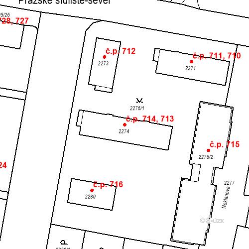Katastrální mapa Stavební objekt České Budějovice 3 713, 714, České Budějovice