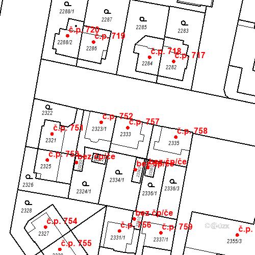 Katastrální mapa Stavební objekt České Budějovice 3 757, České Budějovice