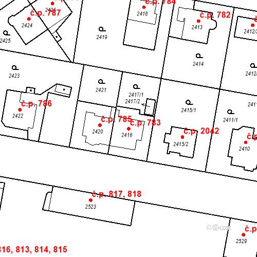 Katastrální mapa Stavební objekt České Budějovice 3 783, České Budějovice
