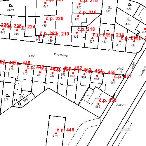 Katastrální mapa Stavební objekt České Budějovice 7 453, České Budějovice