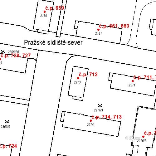 Katastrální mapa Stavební objekt České Budějovice 3 712, České Budějovice