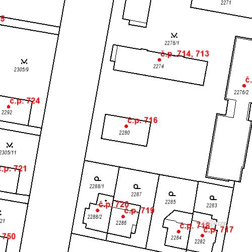 Katastrální mapa Stavební objekt České Budějovice 3 716, České Budějovice