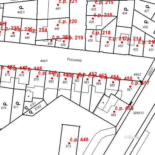 Katastrální mapa Stavební objekt České Budějovice 7 452, České Budějovice