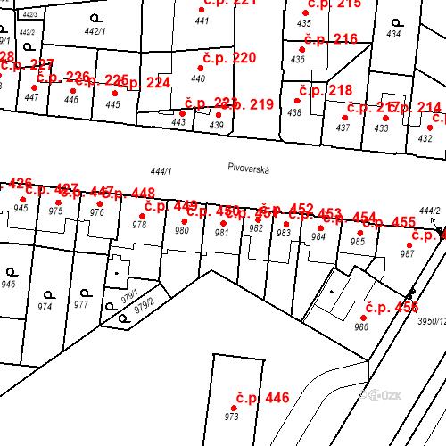 Katastrální mapa Stavební objekt České Budějovice 7 451, České Budějovice