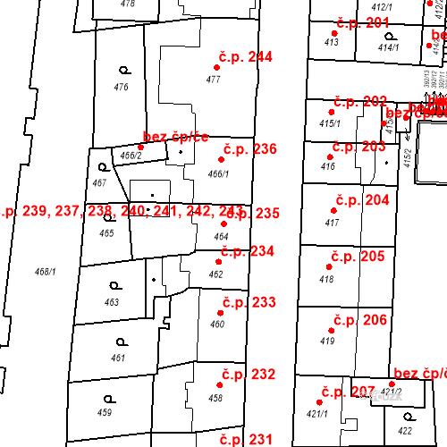 Katastrální mapa Stavební objekt České Budějovice 7 235, České Budějovice