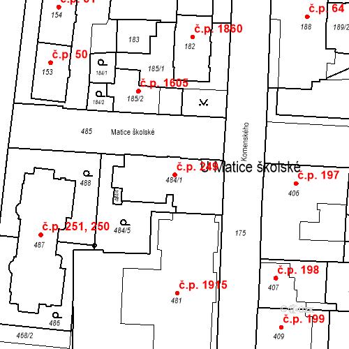 Katastrální mapa Stavební objekt České Budějovice 7 249, České Budějovice
