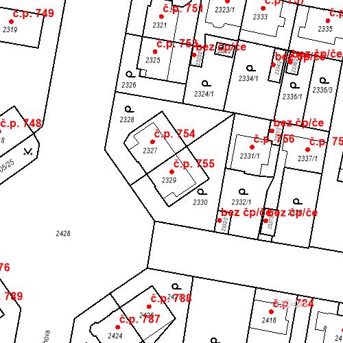 Katastrální mapa Stavební objekt České Budějovice 3 755, České Budějovice