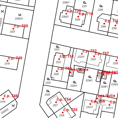 Katastrální mapa Stavební objekt České Budějovice 3 751, České Budějovice