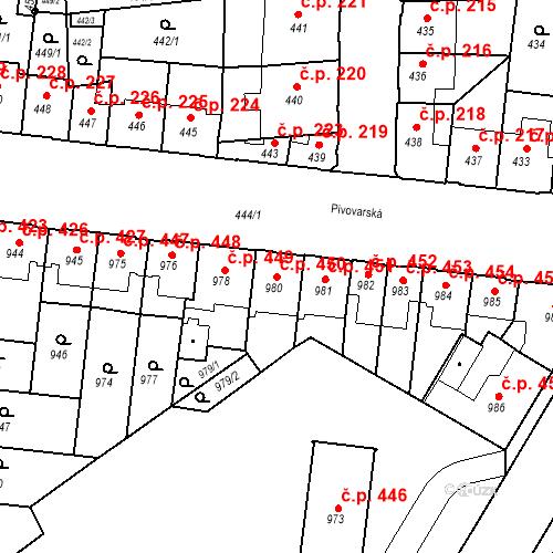 Katastrální mapa Stavební objekt České Budějovice 7 450, České Budějovice