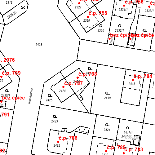 Katastrální mapa Stavební objekt České Budějovice 3 788, České Budějovice