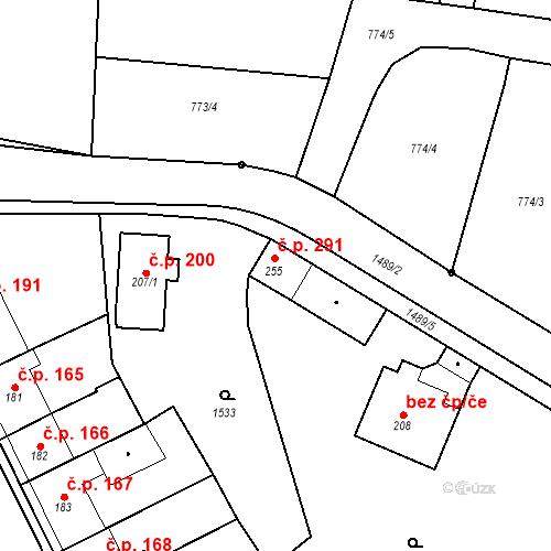 Katastrální mapa Stavební objekt Bernartice 291, Bernartice