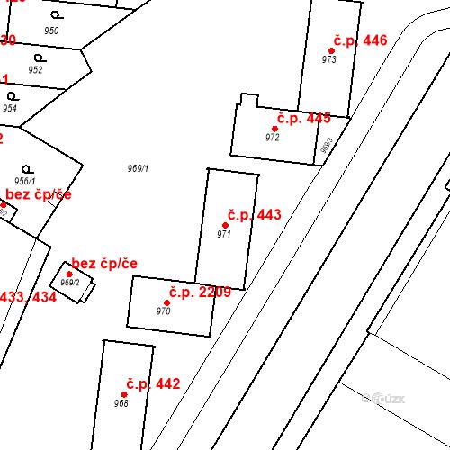 Katastrální mapa Stavební objekt České Budějovice 7 443, České Budějovice