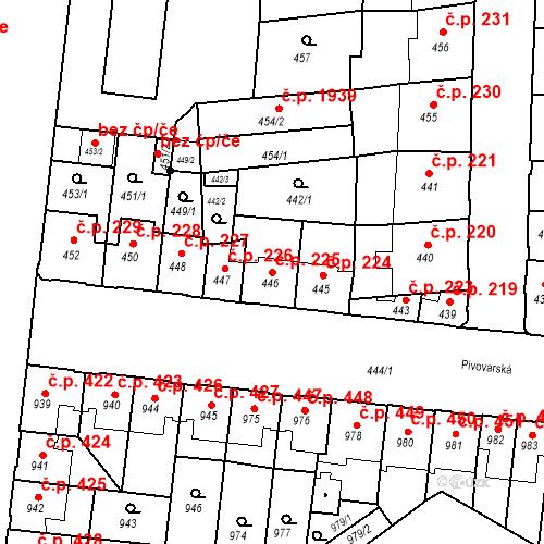 Katastrální mapa Stavební objekt České Budějovice 7 225, České Budějovice