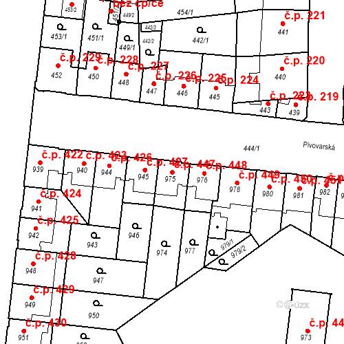 Katastrální mapa Stavební objekt České Budějovice 7 447, České Budějovice
