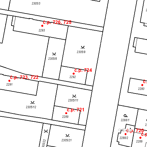 Katastrální mapa Stavební objekt České Budějovice 3 724, České Budějovice