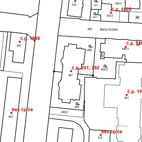 Katastrální mapa Stavební objekt České Budějovice 7 250, 251, České Budějovice