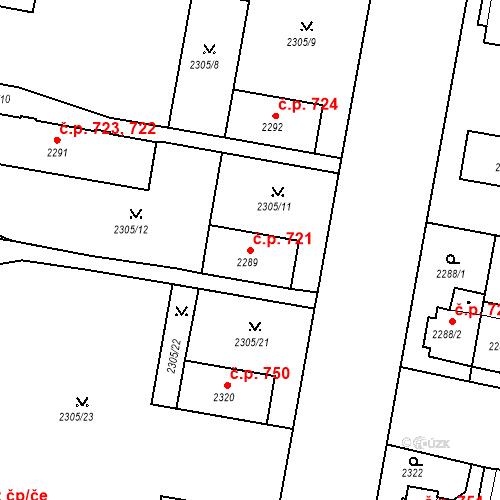 Katastrální mapa Stavební objekt České Budějovice 3 721, České Budějovice