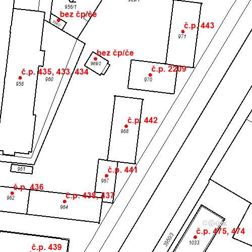 Katastrální mapa Stavební objekt České Budějovice 7 442, České Budějovice