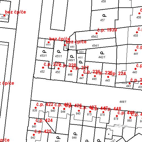 Katastrální mapa Stavební objekt České Budějovice 7 227, České Budějovice