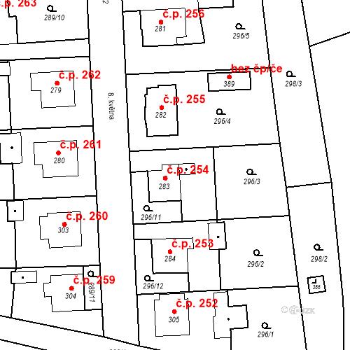 Katastrální mapa Stavební objekt Bernartice 254, Bernartice