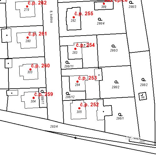 Katastrální mapa Stavební objekt Bernartice 253, Bernartice