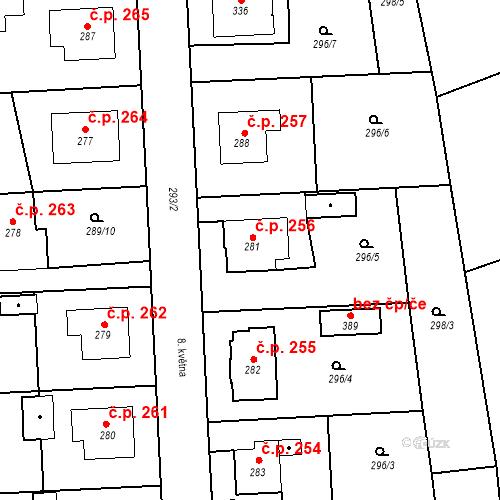 Katastrální mapa Stavební objekt Bernartice 256, Bernartice
